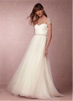 comprar Vestidos de novia de tul de novia de escote fabulosa del A-line con Listones y diamantes de imitación de descuento en Dressilyme.com