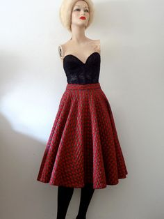 1950s Circle Skirt / 50s quilted red plaid swing skirt / vintage rockabilly fashion