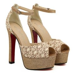 Elegant Apricot Lace Embossing Open Toe Platform Sandals