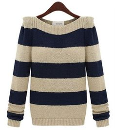 Boat Neck Striped Bottoming Sweater