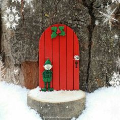 Christmas Elf Holiday Fairy Door - Winter Miniature Fairy Garden Accessory