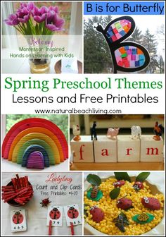 6 great ideas for spring preschool themes, lesson plans, packed full of fun crafts, sensory play, science, free printables,& more www.naturalbeachliving.com