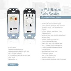 Pyle PWPBT57 In-Wall Bluetooth Audio Receiver, Aux Input for Sound Systems