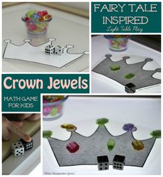 Fairy Tales For Kids! Crown Jewel Counting Math Game on the light table
