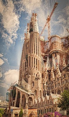 Sagrada Familia,  is one of Gaudí's most famous works in Barcelona. It's a giant Catholic Basilica that has been under construction since 1882.