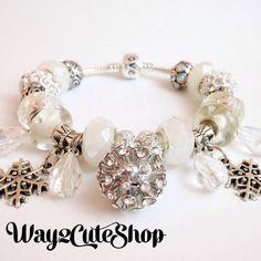 30pcs Winter Crystals 20cm European Style Charm Bracelet