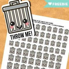 FREE set of kawaii trash bins stickers for your planner! PDF and silhouette cut files included. Happy Planner Kit, Free Planner, Printable Planner, Free Printables, Year Planner, Planner Journal, Planner Ideas, Printable Stickers, Planner Stickers