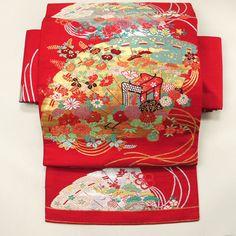 Red nagoya obi / 【名古屋帯】赤地 檜扇花と御所車のお太鼓柄