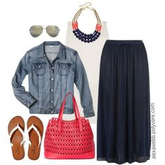 "#plus #size #outfit ""Plus Size - Navy & Coral"" by alexawebb on Polyvore"