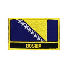 Bosnia Flag Patch Embroidered Patch Gold Border Iron On patch Sew on Patch Bag Patch meet you on www.Fleckenworld.com
