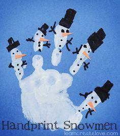 Handprint Snowmen Craft | LearnCreateLove.com