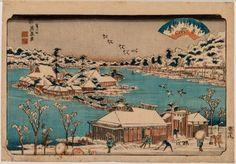 "KEISAI EISEN - 溪斎英泉 (1790 - 1848). Shinobugaoka no bosetsu – ''Nightly Snow over Shinobugaoka"" (忍が岡の暮雪). Original color woodblock print from the series Edo hakkei - ''Eight Aspects of Edo""(江戸八景). Signature: Keisei Eisen ga. Seal: Keisai & Eisen. Publisher: Yamamoto Heikichi (Eikyudo). Censor seal: Nanushi-seal Watari. Issued about 1843/45. OBAN 36,6 x 25,2 CM"