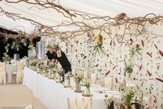 A Wilde Bunch Autumn marquee design. This is the long top table with a full floral curtain and an overhead hazel matrix with hanging designs. Floral Curtains, Marquee Wedding, Long Tops, Garland, Wedding Flowers, Autumn, Weddings, Table, Image