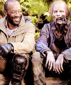 Lennie James, behind the scenes. The Walking Dead