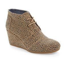 "TOMS 'Desert -Cheetah' Wedge Bootie, 2 1/2"" heel (695 EGP) ❤ liked on Polyvore"