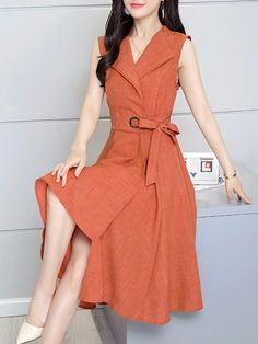 Shawl Collar Women Asymmetrical Elegant Sleeveless Solid Plus Size Dress Shawl Collar Women Asymmetrical Elegant Sleeveless Solid Dress Daytime Dresses, Casual Dresses, Short Dresses, Fashion Dresses, Fashion Top, Linen Dresses, Beach Dresses, Trendy Fashion, Evening Dresses
