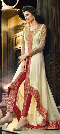 High-Slit Elegant Beige Designer Salwar Kameez by IWS 434062 White and Off White color family Party Wear Salwar Kameez in Faux Georgette fabric with Lace,Patch,Resham,Stone work . Designer Salwar Kameez, Designer Anarkali, Shalwar Kameez, Anarkali Dress, Pakistani Dresses, Lehenga Choli, Indian Dresses, Indian Outfits, Anarkali Suits