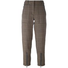 3.1 Phillip Lim cropped houndstooth trousers (34.355 RUB) ❤ liked on Polyvore featuring pants, capris, brown, high waisted trousers, high-waisted trousers, cropped pants, brown crop pants and print pants