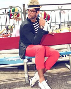 Navy Blazer + Striped Tee + Red Pant + White Converse