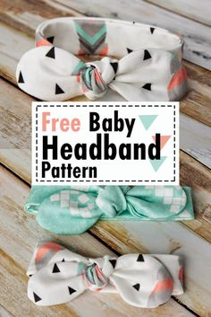 Easy DIY baby headband pattern free sewing - Knot Bow Headband Pattern and Tutorial - Coral + Co. - ✂ Nähen ✂ Baby✂ - Make a Free Baby Headband Pattern! Sew this DIY Knot Bow Headband Pattern for baby. Easy Knot Bow S - Baby Sewing Projects, Sewing Projects For Beginners, Sewing Crafts, Baby Sewing Tutorials, Diy Crafts, Crochet Tutorials, Sewing Patterns Free, Free Sewing, Sewing Tips
