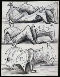 Henry Moore  Reclining Figures [Figures couchées] - Page du carnet «Têtes, figures et idées», 1955-1956
