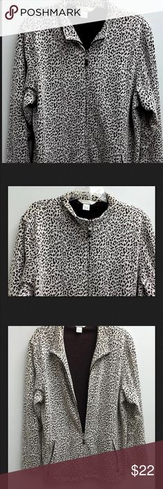 Allison Daley Women  Light Weight Jacket Allison Daley Women Extra Large Light Weight Jacket Animal Print Soft & Comfy EUC Zip front and two side pockets that zip as well Measurements Taken Flat: Length from back collar to bottom: 29 inches Length from front zipped up to bottom: 27 inches Underarm to underarm: 21 inches Sleeves, shoulder seam to cuff: 23 inches Allison Daley Jackets & Coats Utility Jackets