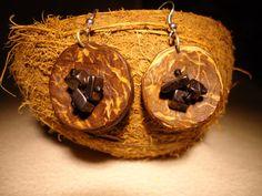 Hematite Earrings Coconut Earrings Birthstone by GaeaCrafts