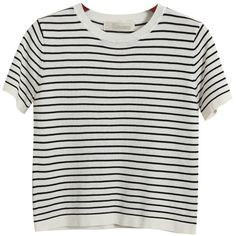 Chicnova Fashion Striped Crew Neck T-shirt ($28) ❤ liked on Polyvore featuring tops, t-shirts, shirts, tees, t shirts, striped tee, striped shirt, crewneck shirt and crew neck shirts