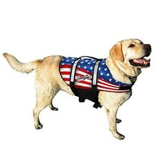 American Flag Dog Life Jacket - Pawz Pet Products Nylon Dog Life Vest in Large ** Read more reviews of the product by visiting the link on the image.