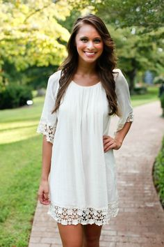 The Pink Lily Boutique - Ivory Lace Dress, $38.00 (http://www.thepinklilyboutique.com/ivory-lace-dress/)