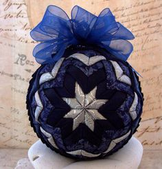 Victorian Folded Fabric Christmas Ornament by LadyAbeada on Etsy, $35.00