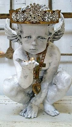 Large cherub statue with rhinestone crown distressed shabby French embellished art home decor Anita Spero Statues, Ange Demon, Angels Among Us, Tiaras And Crowns, Vintage Rhinestone, Potpourri, Architectural Salvage, Sculpture Art, Shabby Chic