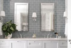 Absolutely gorgeous bathroom vanity wall—love the gray subway tiles—the mirrors are fabulous too❣ heathergarrettdesign.com