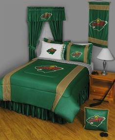Minnesota Wild Sidelines Complete Bedroom Package, starting at $252.95 at MySportsDecor.com. Great for your bedroom, a kid's bedroom, or a dorm room. http://www.mysportsdecor.com/minnesota-wild-sidelines-complete-bedroom-package.html... #minnesotawild #minnesotawildbedding #minnesotawildbedroompackage