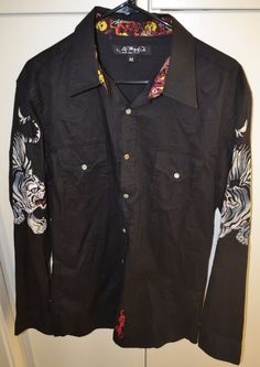 Don Ed Hardy (Christian Audigier) Pearlsnap Embroidered Button Front Shirt (M) Don Ed Hardy, Amazing Grays, Christian Audigier, Grey And White, Military Jacket, That Look, Button Down Shirt, Jackets, Style