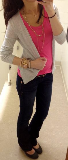Lilly's Style < Light grey cardigan, bright pink tee, dark blue jeans, skinny studded belt, grey wedges