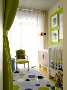 Modern nursery with a green color scheme by Tewes Design