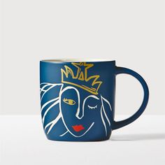 A blue ceramic mug featuring an etched Siren design. Part of the Starbucks<sup>&reg;</sup> Anniversary Collection. Starbucks Siren, Starbucks Logo, Starbucks Coffee, Coffee Mugs, Starbucks Drinkware, Pacific Coffee, Siren Design, Mermaid Mugs, Cool Mugs