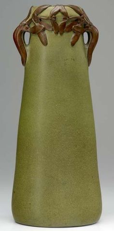 VAN BRIGGLE Exceptional, early and tall two-handled tapering vase with hand-applied bronze overlay of stylized mistle. on Mar 2008 Rookwood Pottery, Roseville Pottery, Antique Pottery, Pottery Art, Weller Pottery, Antique Vases, Glass Ceramic, Ceramic Art, Celadon