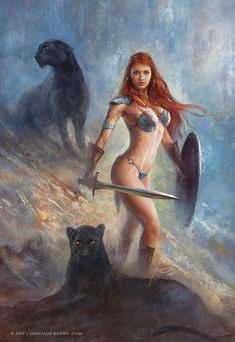 Red Sonja and the two Shadows by gonzalokenny