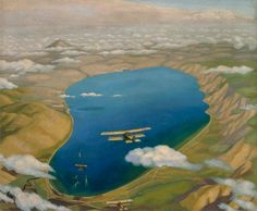 The Sea of Galilee: Aeroplanes Attacking Turkish Boats by Sydney William Carline IWM (Imperial War Museums)      Date painted: 1919     Oil on canvas, 76.2 x 91.4 cm     Collection: IWM (Imperial War Museums)
