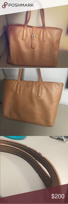 Tory Burch Tote Tory Burch Camel Tote-- great condition minus a few stitches coming out on the handles. Very minimal. Tory Burch Bags Totes
