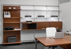 Learn about our contemporary desk systems that support private offices or open group settings. We offer desk solutions configured with storage and built-in technology. Modular Desk System, Contemporary Desk, Corner Desk, Football Conference, Conference Room, Room Decor, Interior Design, Storage, State Farm