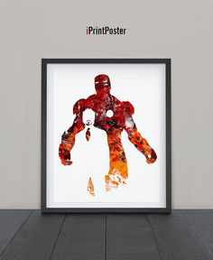 Iron Man, Print, Watercolor, Superhero poster, Marvel, Art, Heroes Illustrations, Watercolor, Wall, Artwork, Comic poster, Gift, Home Decor.