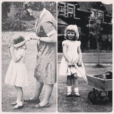 """1964: A rare photograph of little Diana, age 3, playing hide and seek with Nanny Thompson at Park House, the Spencer's first home in Sandringham ●"