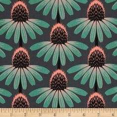 Anna Maria Horner Pretty Potent Echinacea Dim from @fabricdotcom  Designed by Anna Maria Horner for Free Spirit, this cotton print is perfect for quilting, apparel and home decor accents.  Colors include charcoal, black, pale coral and dusty teal.