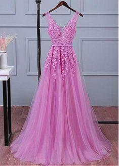 comprar Vestido de dama de honor con escote en V y escote en V de tul  delicada con apliques de encaje con cuentas y marco de descuento en  Dressilyme.com fae2f35f893c
