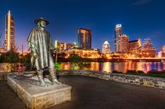 Texas Native Stevie Ray Vaughan and the Austin skyline. Austin Texas, Visit Austin, The Austin, Dallas Texas, San Diego, San Francisco, Stevie Ray Vaughan Statue, San Antonio, Nashville