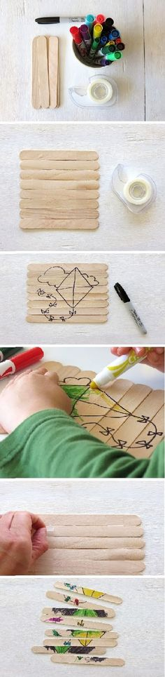 Here's a super easy homemade puzzle you can make with your kids – or let them make themselves.  Jumbo Craft Sticks  Tape  Markers or Cra...