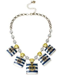 Betsey Johnson Gold-Tone Striped Anchor Bead and Crystal Chain Frontal Necklace